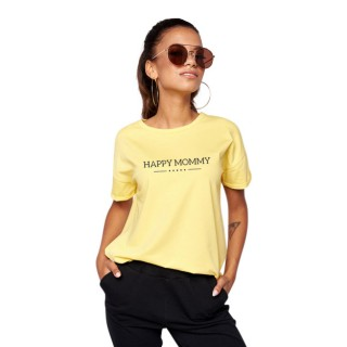 HAPPY MOMMY OVERSIZED T-SHIRT - ORGANISK BOMULL - GUL STR L - 1 IGJEN